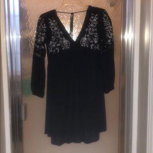 XXS Francesca's Navy Embroidered Babydoll Dress